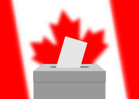 Canada election banner background. Ballot Box with blurred flag