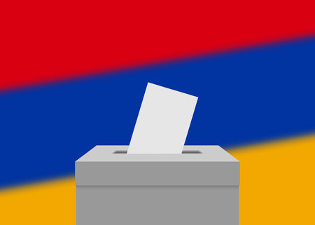 Armenia election banner background. Ballot Box with blurred flag