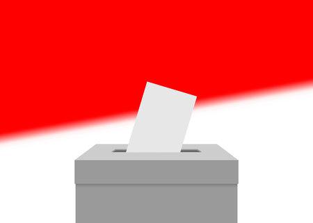 Fond de bannière électorale en Indonésie. Urne avec drapeau flou