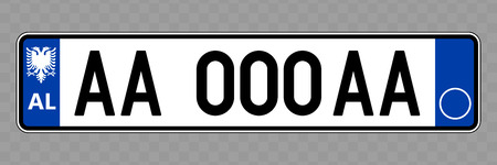 Number plate. Vehicle registration plates of Albania