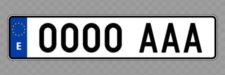 Nummernschild. Kfz-Kennzeichen von Spanien