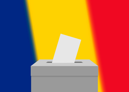 Romania election banner background. Ballot Box with blurred flag
