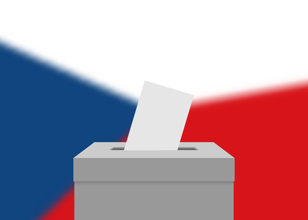 Czech Republic election banner background. Ballot Box with blurred flag