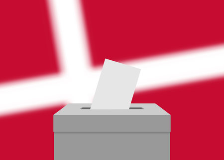 Denmark election banner background. Ballot Box with blurred flag