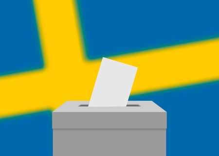 Sweden election banner background. Ballot Box with blurred flag