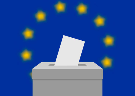 European Union election banner background. Ballot Box with blurred flag Ilustração