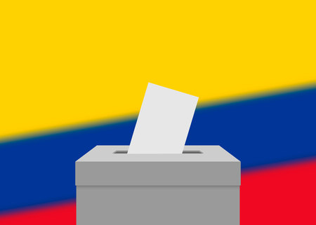 Colombia election banner background. Ballot Box with blurred flag Illustration