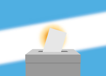 Argentina election banner background. Ballot Box with blurred flag