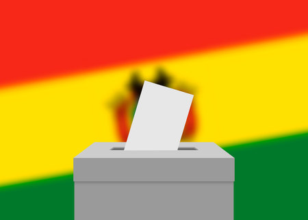 Bolivia election banner background. Ballot Box with blurred flag  イラスト・ベクター素材