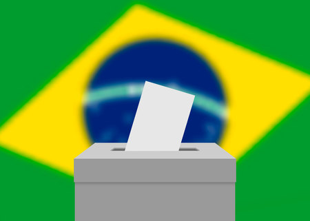 Brazil election banner background. Ballot Box with blurred flag Standard-Bild - 124539670