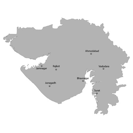 High Quality map of Gujarat is a state of India, With main cities location