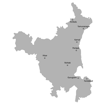 High Quality map of Haryana is a state of India, With main cities location Illustration