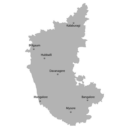 High Quality map of Karnataka is a state of India. With main cities location Illustration