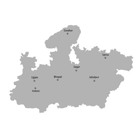 High Quality map of Madhya Pradesh is a state of India. With main cities location Vettoriali