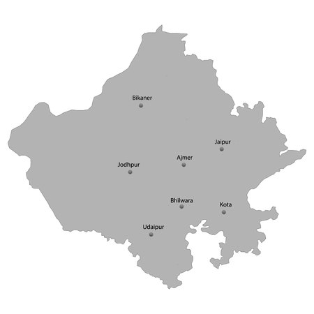 High Quality map of Rajasthan is a state of India. With main cities location