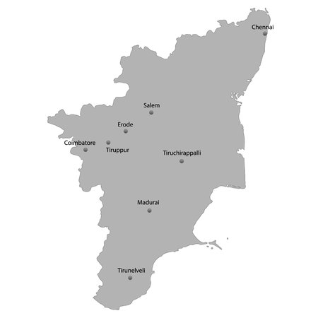 High Quality map of Tamil Nadu is a state of India. With main cities location