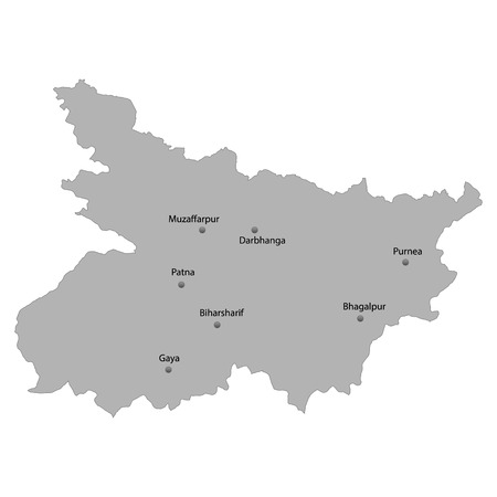 High Quality map of Bihar is a state of India, With main cities location