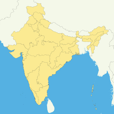 High quality map of India with borders of the regions