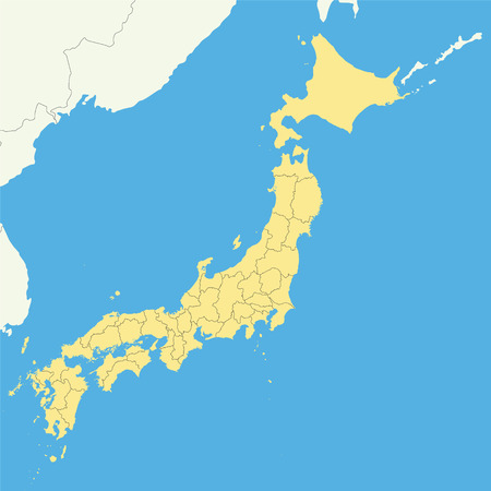 High quality map of Japan with borders of the regions Ilustrace