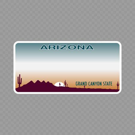 Plaque d'immatriculation. Les plaques d'immatriculation des véhicules de l'État des États-Unis - Arizona Vecteurs