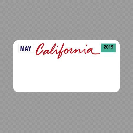 Nummernschild. Kfz-Kennzeichen des Bundesstaates USA - Kalifornien