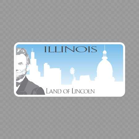 Number plate. Vehicle registration plates of USA state - illinois Vettoriali