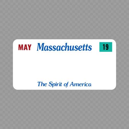 Número de placa. Placas de matrícula de vehículos del estado de EE. UU. - Massachusetts Ilustración de vector