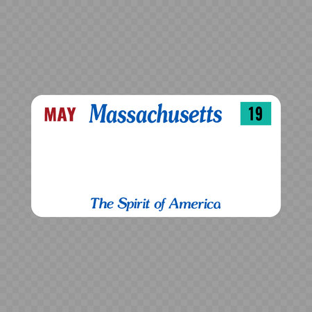 Number plate. Vehicle registration plates of USA state - Massachusetts Vetores