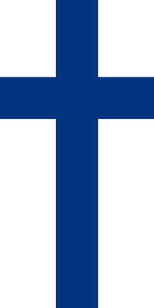 Hanging vertical flag of Finland