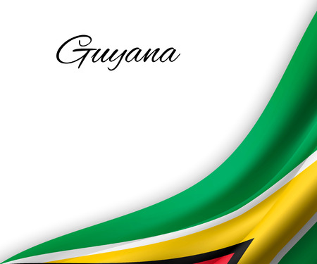 waving flag of Guyana on white background. Template for independence day. vector illustration