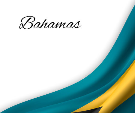 waving flag of Bahamas on white background. Template for independence day. vector illustration