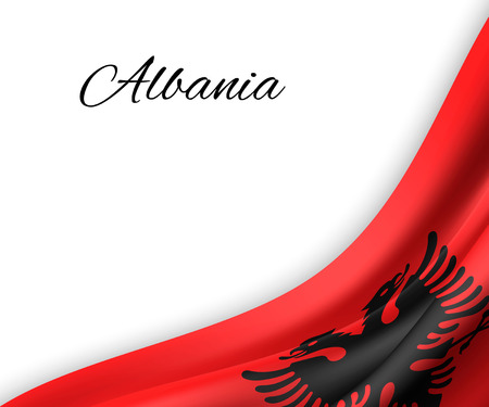 waving flag of Albania on white background. Template for independence day. vector illustration Illustration
