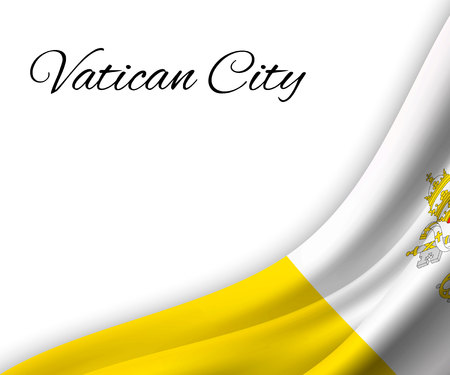 waving flag of Vatican City on white background. Template for independence day. vector illustration