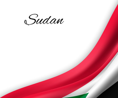 waving flag of Sudan on white background. Template for independence day. vector illustration