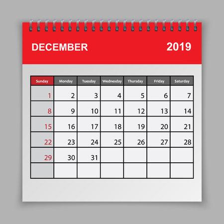 Calendar planner design template. December 2019 year Ilustrace