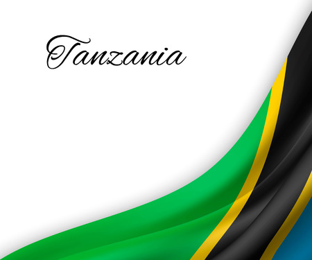 waving flag of Tanzania on white background. Template for independence day. vector illustration