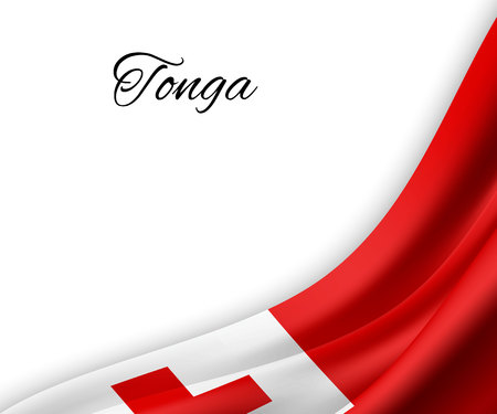 waving flag of Tonga on white background. Template for independence day. vector illustration