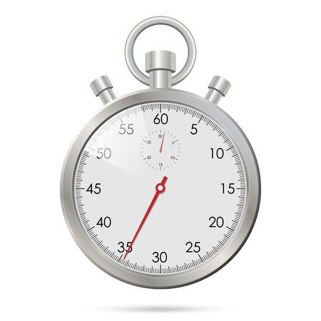 Chronomètre réaliste en argent. Illustration vectorielle Vecteurs
