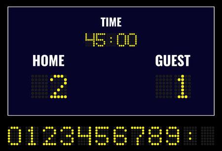 Tableau de bord numérique à LED de football. Illustration vectorielle