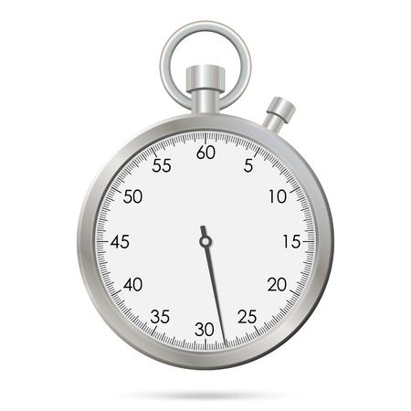 Silberne realistische Stoppuhr. Vektor-Illustration