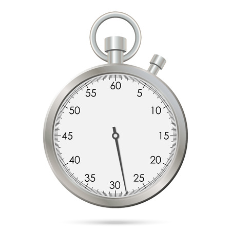 Silver realistic stopwatch. Vector illustration