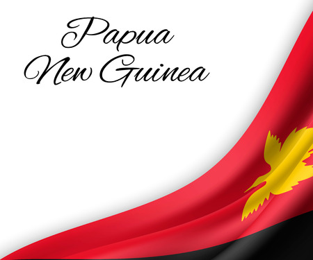 waving flag of Papua New Guinea on white background. Template for independence day. vector illustration