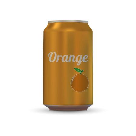 Orange Drink aluminium can isolated on white background