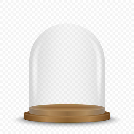 Cupola di vetro vuota e trasparente vuota sul podio.