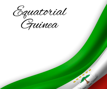 waving flag of Equatorial Guinea on white background. Template for independence day. vector illustration 向量圖像