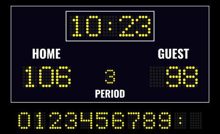 Basketball LED digital scoreboard . Vector illustration