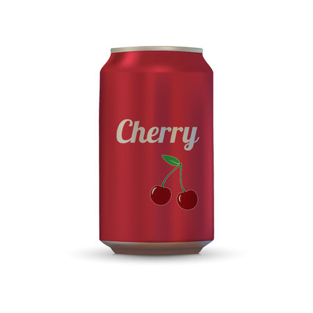 Cherry Drink aluminium can isolated on white background