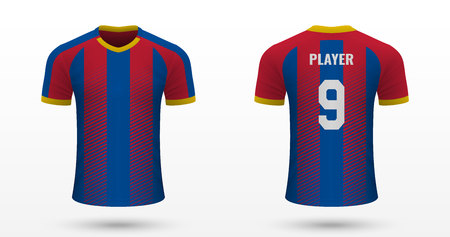 Realistic soccer shirt Crystal Palace, jersey template for football kit. Vector illustration Ilustracja