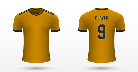 Realistic soccer shirt Wolverhampton, jersey template for football kit. Vector illustration Illustration