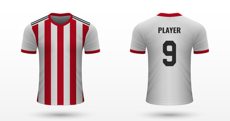 Realistic soccer shirt Sheffield United, jersey template for football kit. Vector illustration